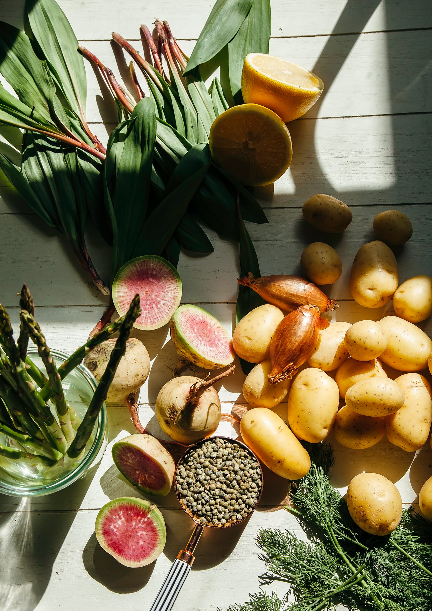 An overhead shot of ingredients for a potato salad.