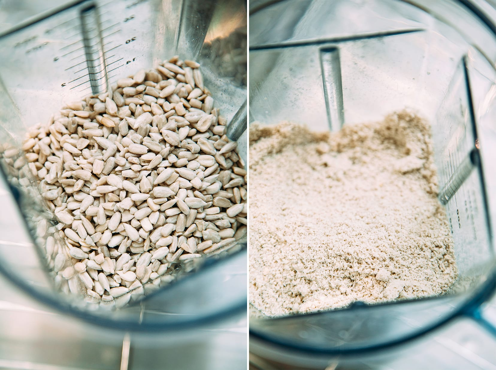 """2 photos: one shows sunflower seeds in a blender from overhead. The next one shows those sunflower seeds ground up into a """"flour."""""""