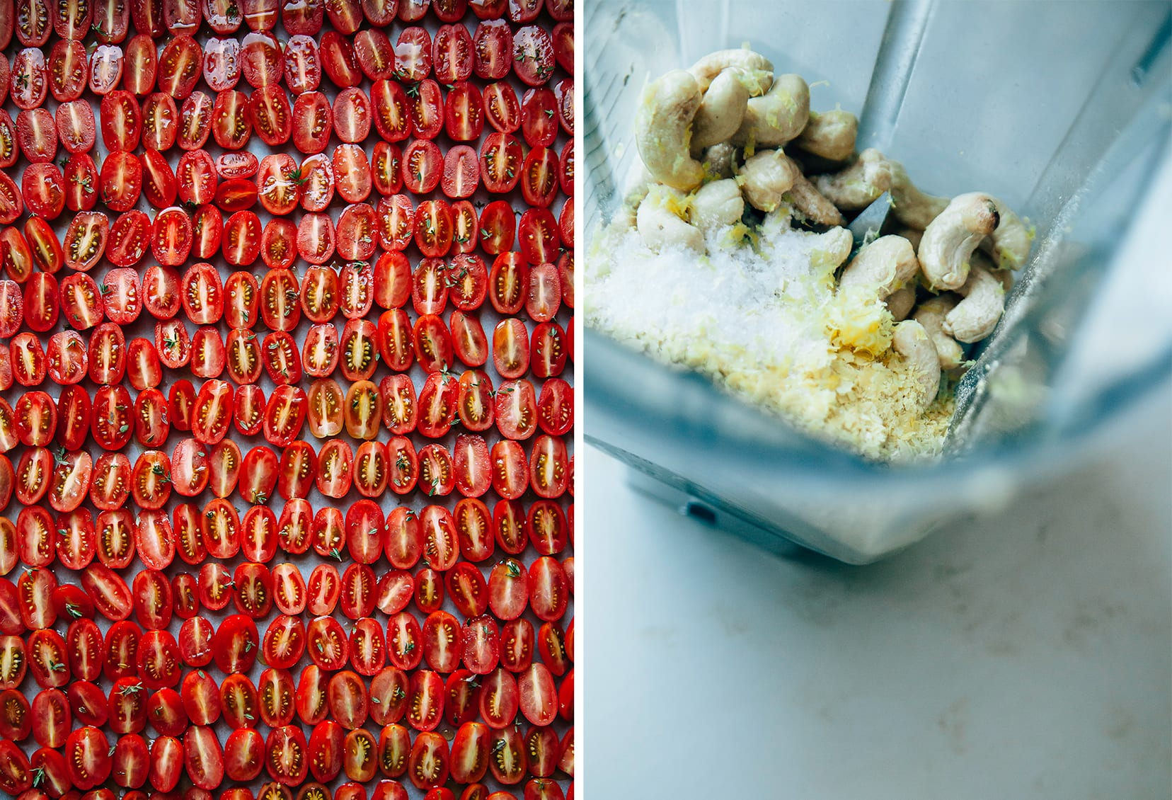 Two photos show a bunch of halved grape tomatoes, and the beginnings of a creamy cashew sauce in a blender.