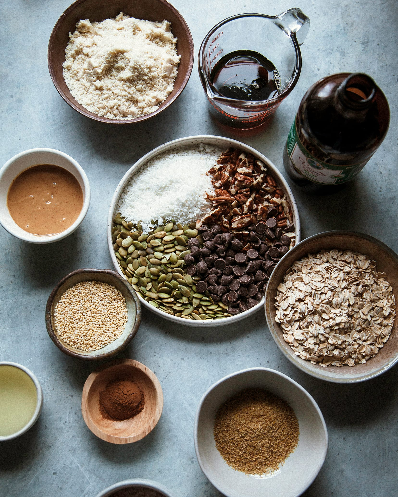 An overhead shot of ingredients and prep for a baking project.
