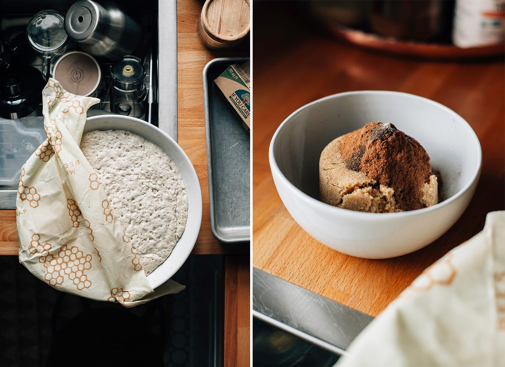 Two images show a bowl of dough and a bowl with a brown sugar and cinnamon mixture.