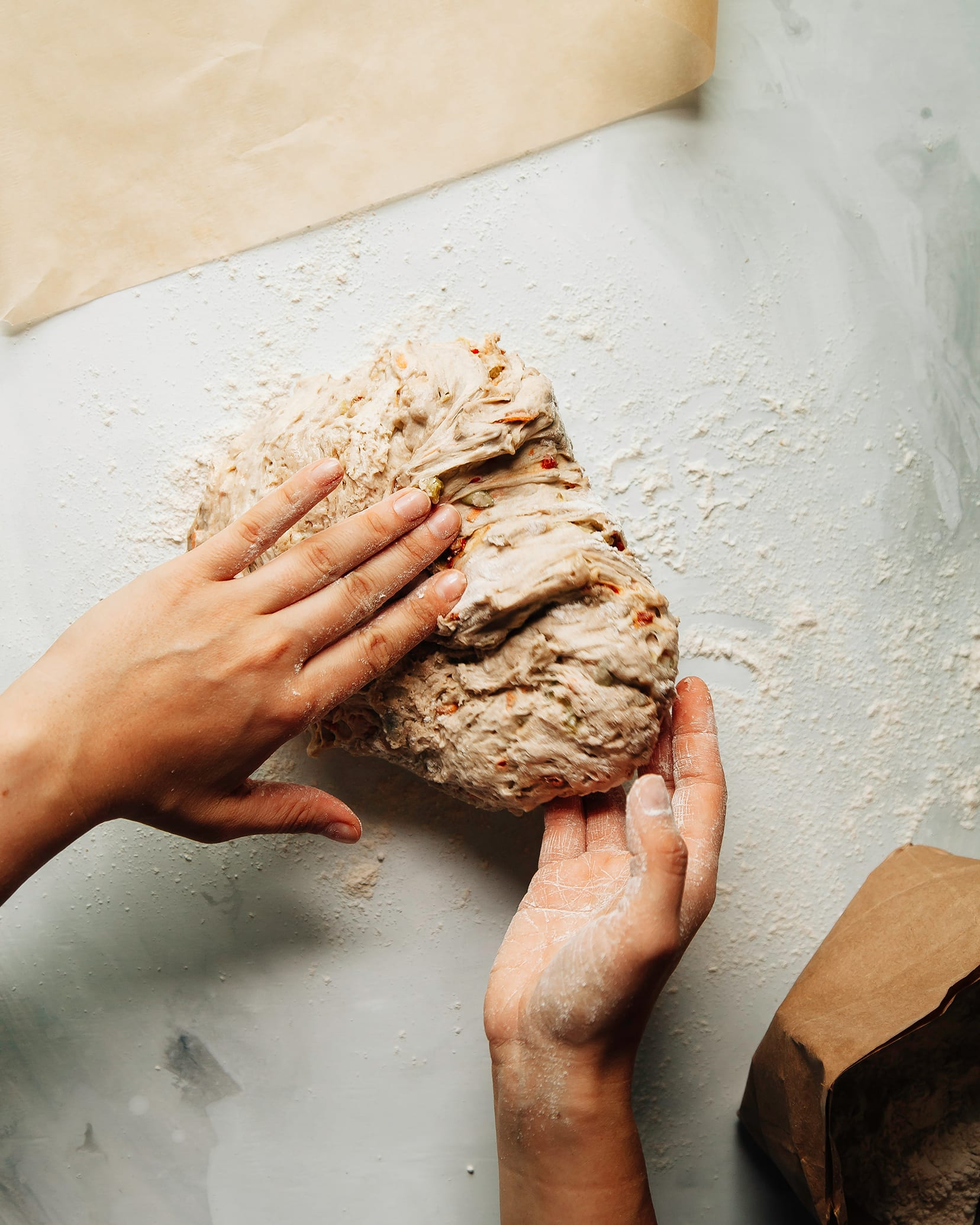 Shaping the no knead marathon bread dough
