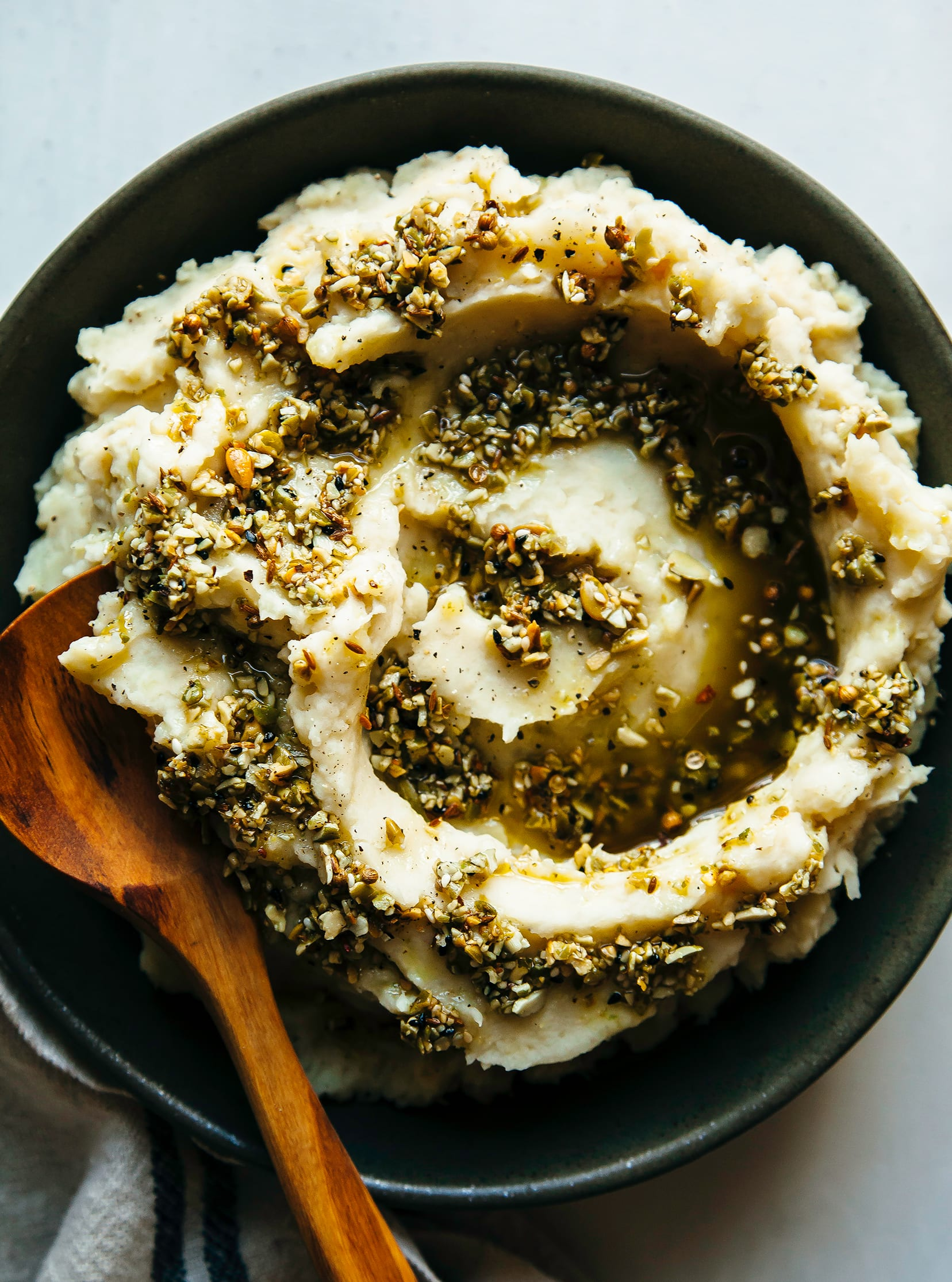 HARVEST VEGETABLE MASH WITH ROASTED GARLIC, HORSERADISH & FRID DUKKAH - The First Mess