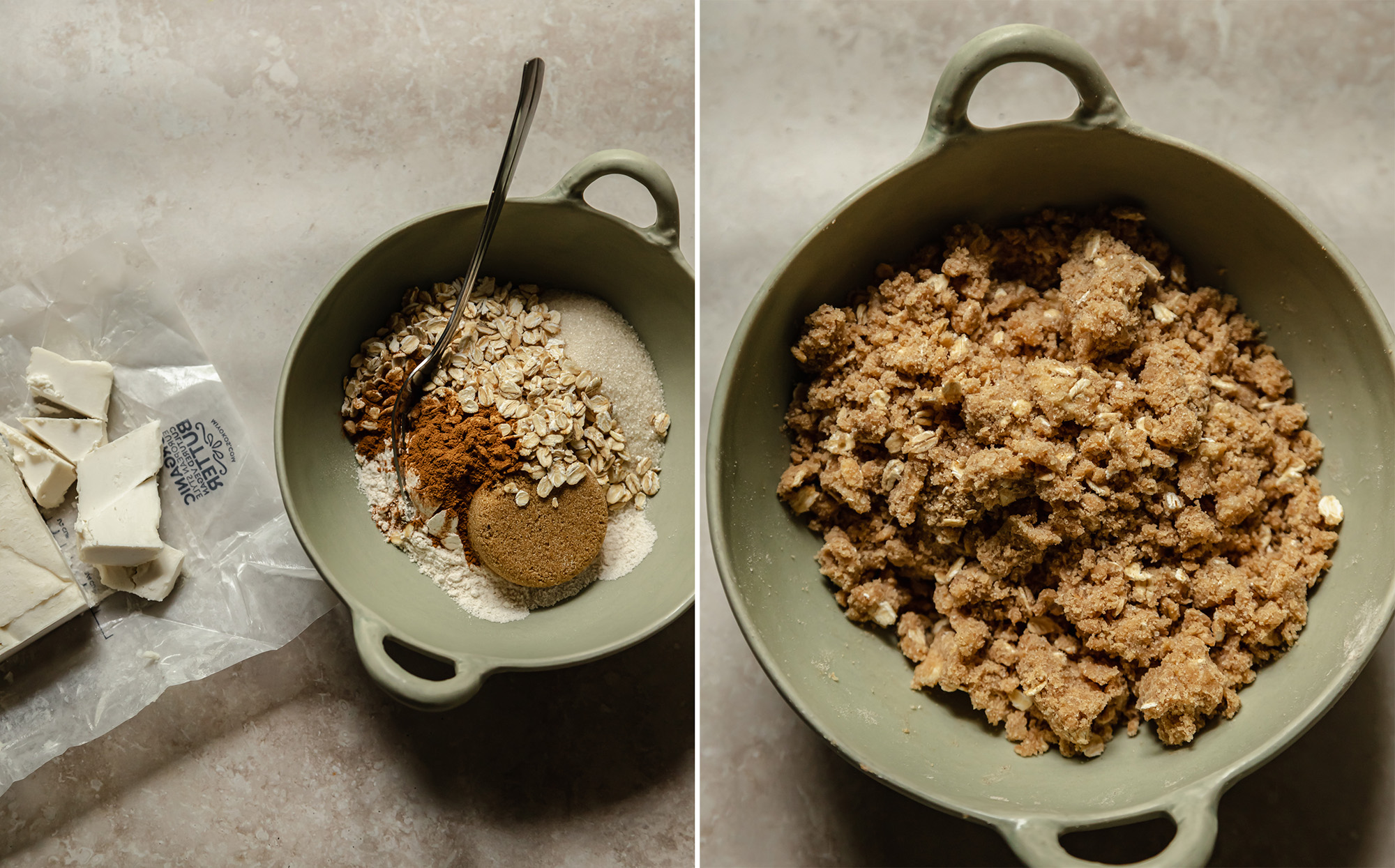 Two images show crumble topping as a mixture before being combined and after in a light green bowl.