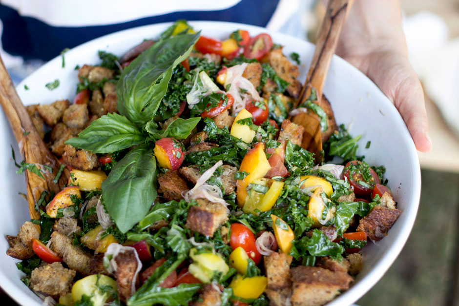 summer panzanella with heirloom tomatoes, basil, and peaches - The First Mess
