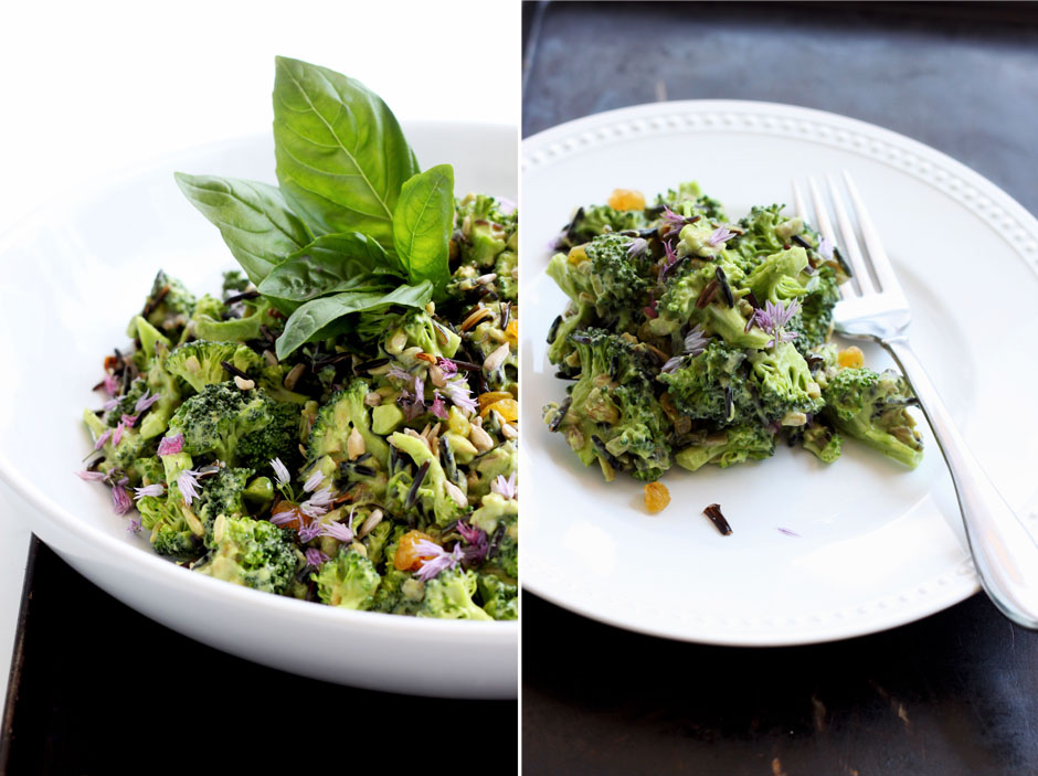 Broccoli Salad with Sprouted Rice and Citrus Avocado Dressing - The First Mess