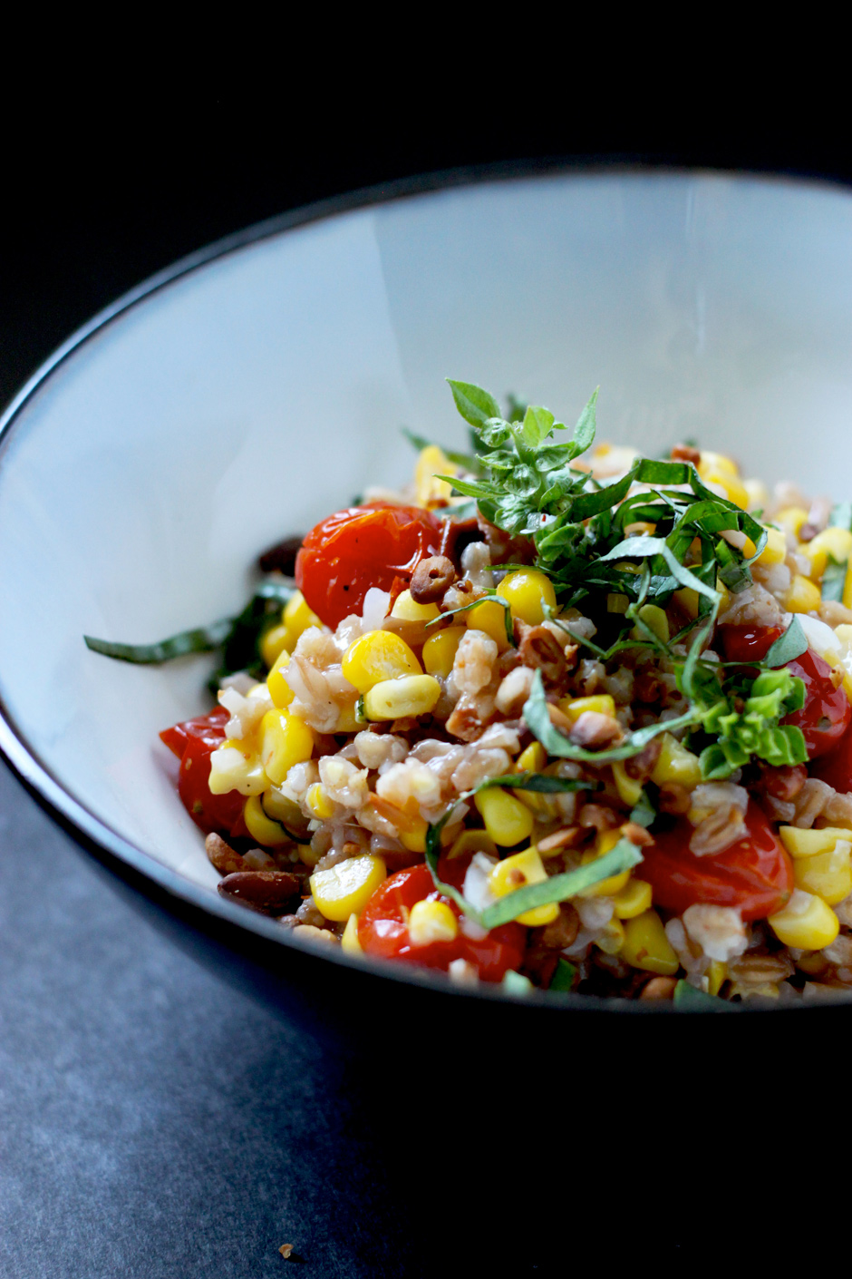 sweet corn & caramelized tomato farrotto - The First Mess