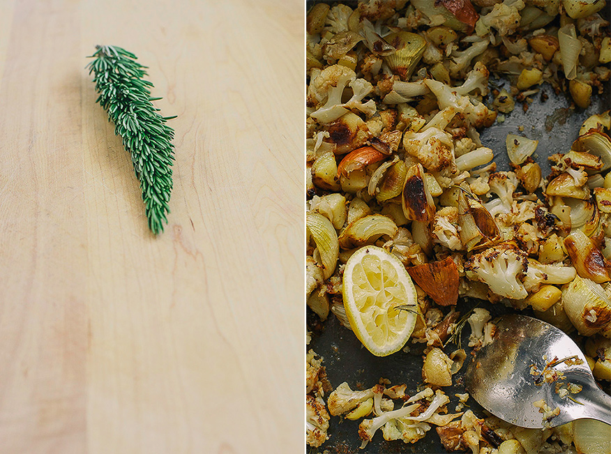 2 photos: one is a sprig of rosemary on top of a wooden cutting board. The other is an overhead shot of a roasting tray with browned onions, cauliflower, and potatoes with a squeezed lemon half.