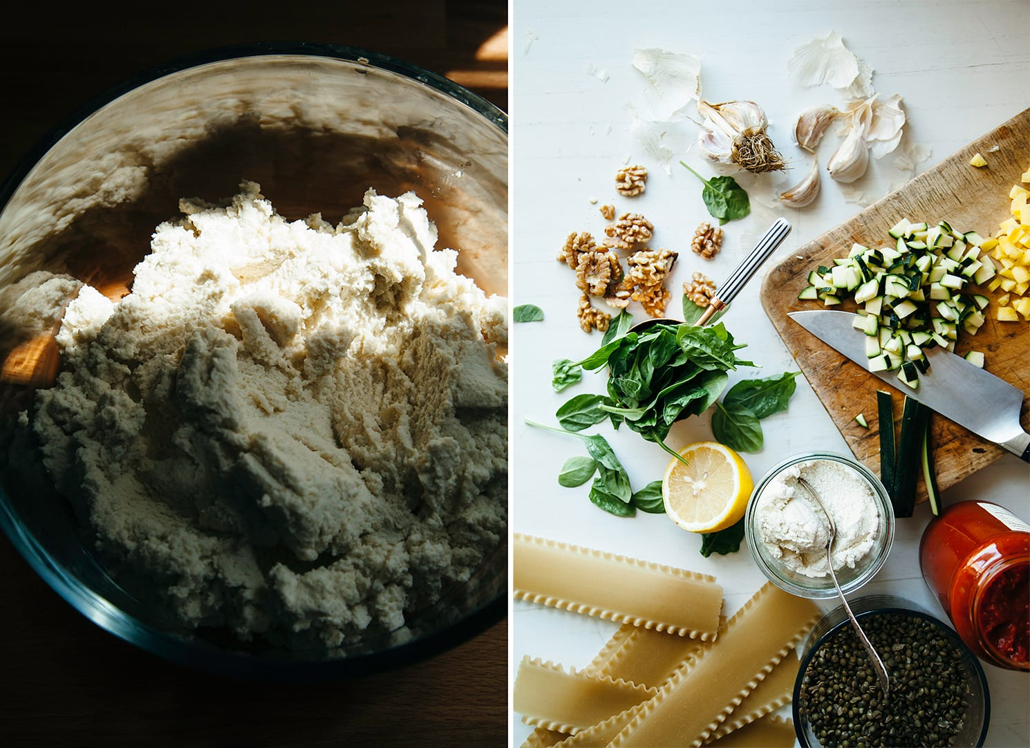 Two images show a bowl of vegan ricotta and an overhead shot of prepped ingredients for a plant-based lasagna.