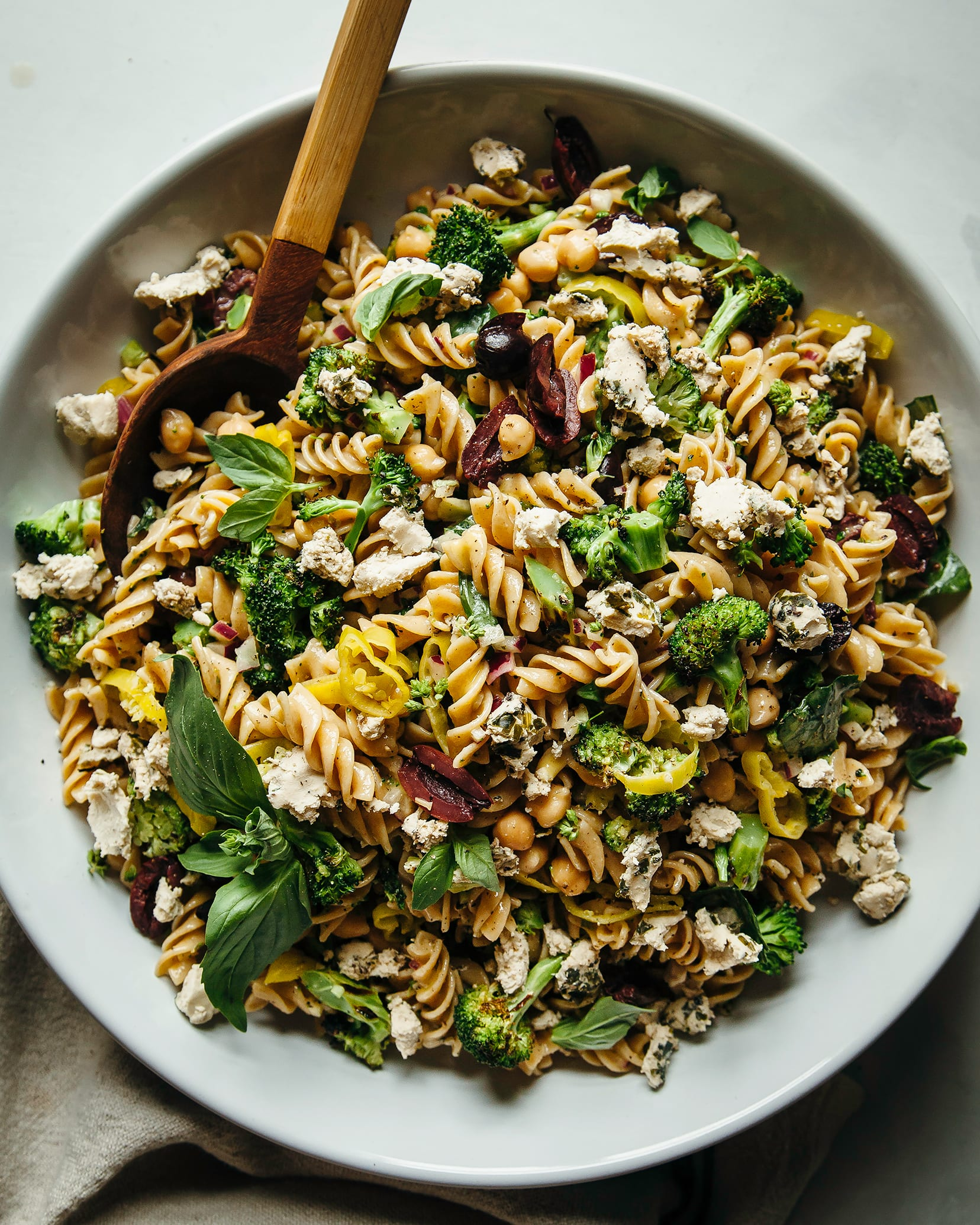 Pepperoncini pasta salad with basil.