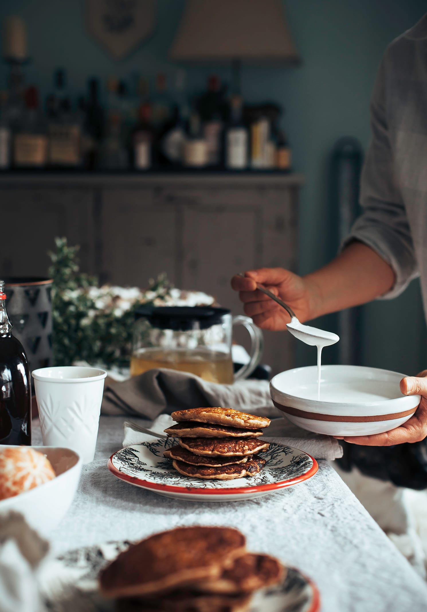 Banana Eggnog Pancakes - The First Mess (vegan)