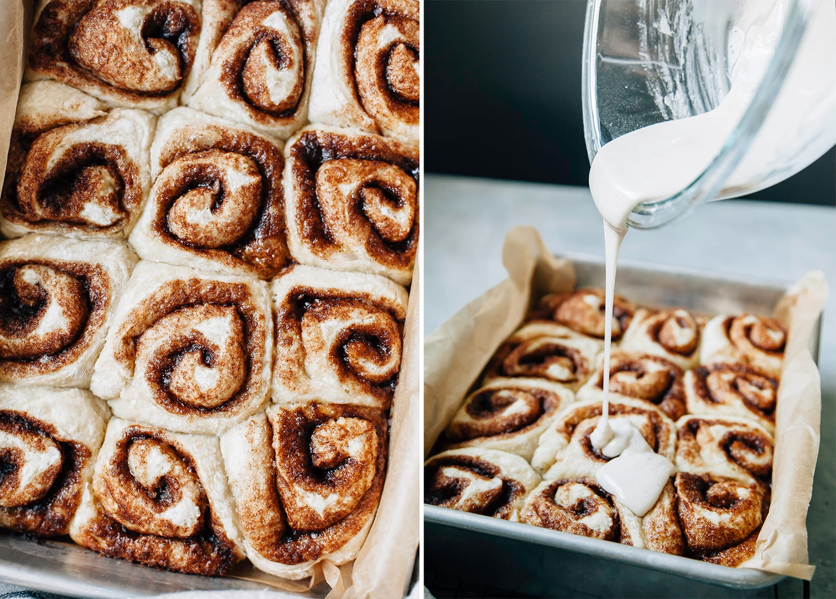 Two images show baked cinnamon rolls and icing being poured on top of a pan of cinnamon rolls.