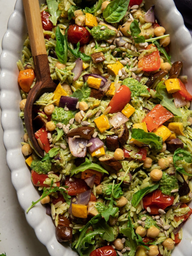 How to make Pesto Orzo Salad with Roasted Vegetables & Chickpeas