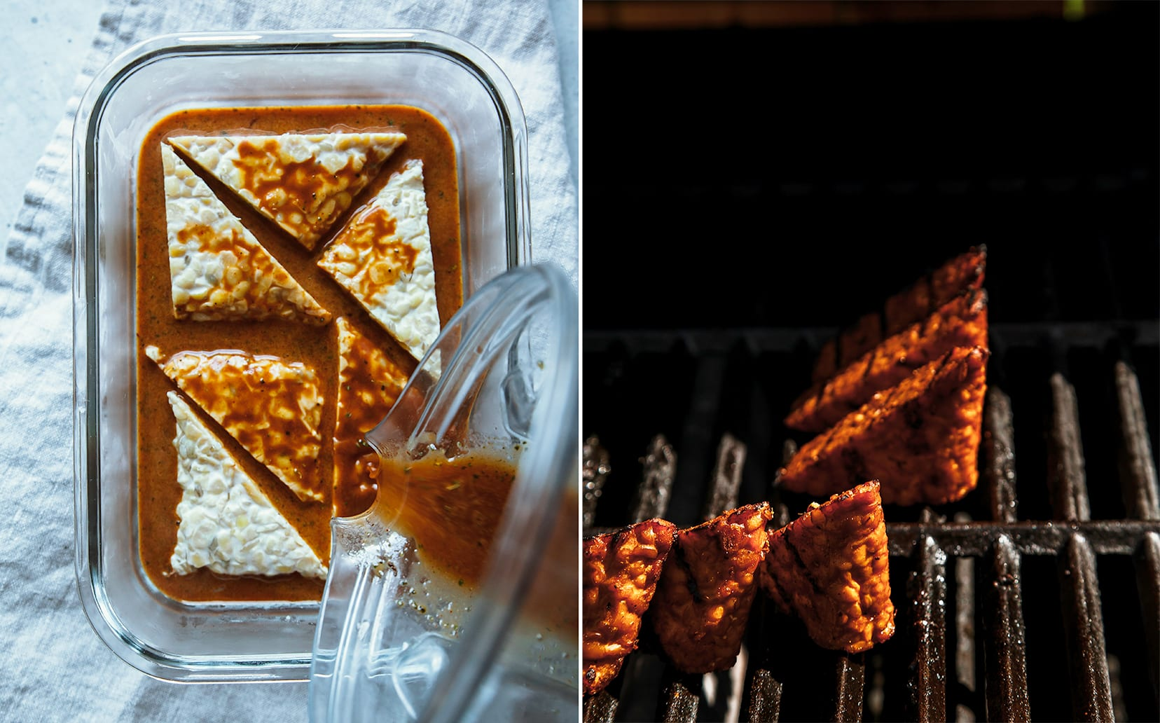 Two photos show triangular pieces of tempeh being marinated in a container, and also being grilled outdoors.