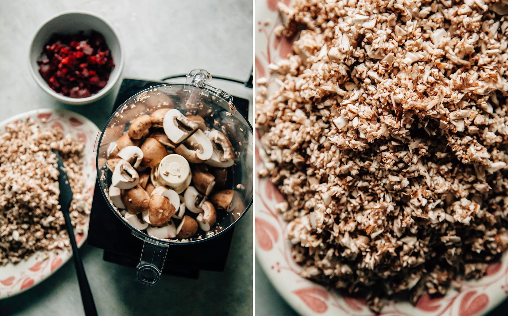 Two images show mushrooms being finely chopped in a food processor.