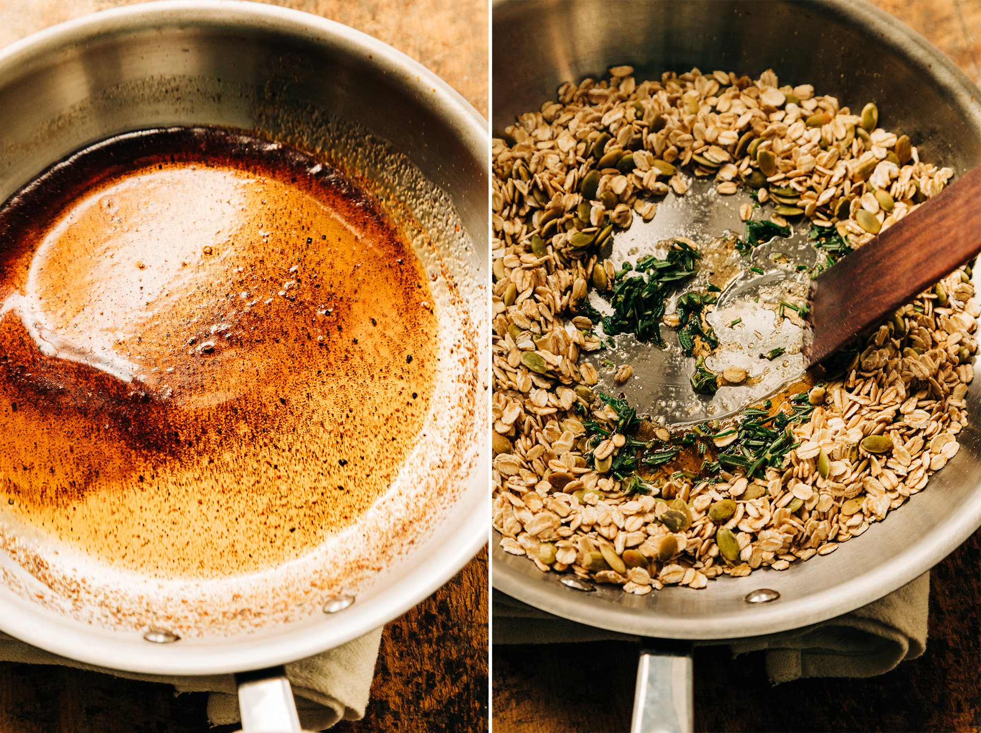 2 images show a spiced maple syrup being swirled in a sauté pan and some savoury rosemary granola being made in a sauté pan.