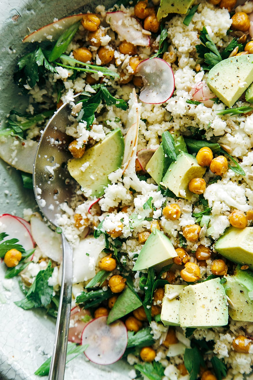 CAULIFLOWER & ROASTED GARBANZO RICE AND PEAS SALAD WITH APPLE AND AVOCADO