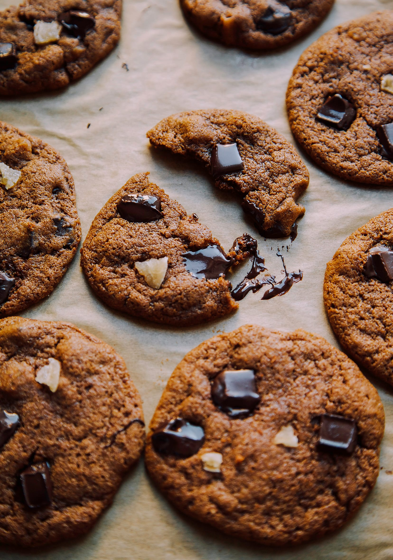 VEGAN CHOCOLATE CHUNK GINGER COOKIES from The First Mess Cookbook