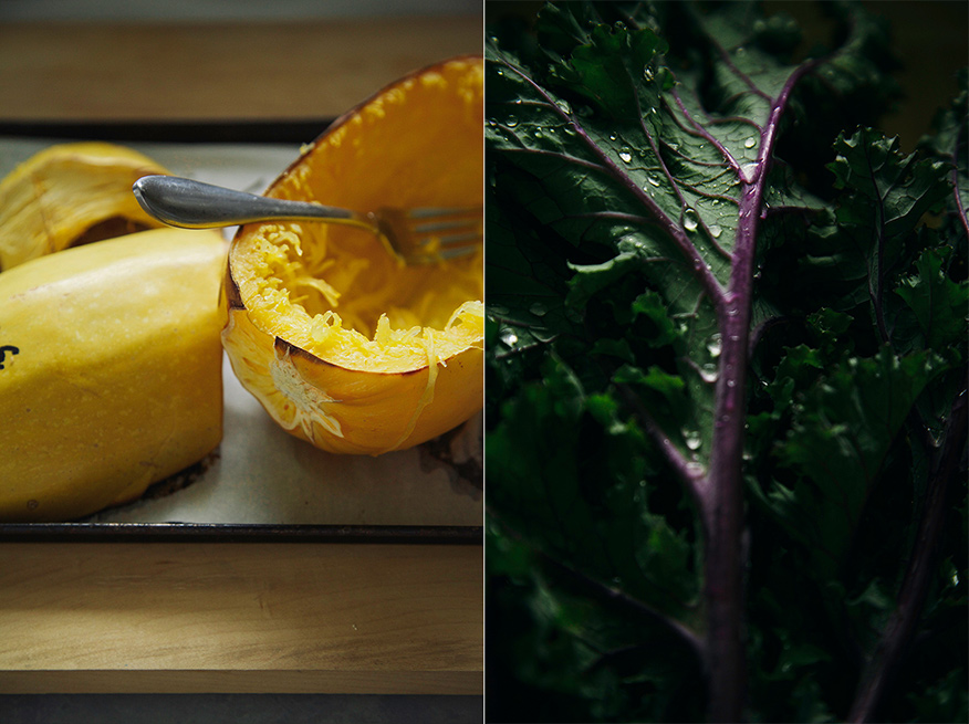 Two photos: one of a roasted spaghetti squash with the seeds scooped out. The other is a close up shot of some red Russian kale with water droplets on the leaves.