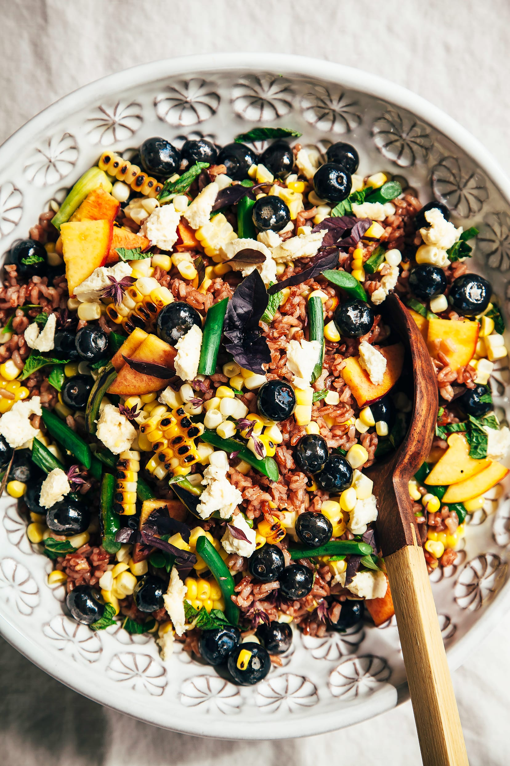 Summer Picnic Salad with Blueberries & Vegan Almond Feta - The First Mess