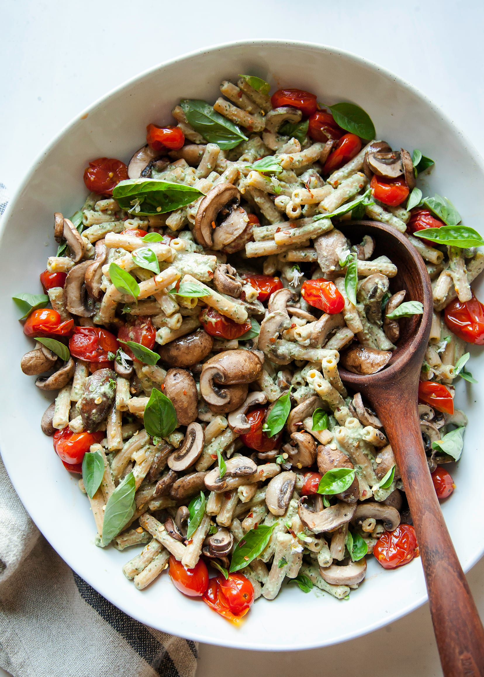 BASIL TAHINI PASTA WITH BURST TOMATOES & MUSHROOMS - The First Mess
