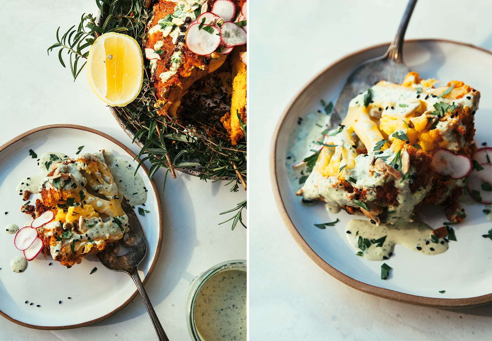 Two images show slices from a whole roasted cauliflower from two different angles.