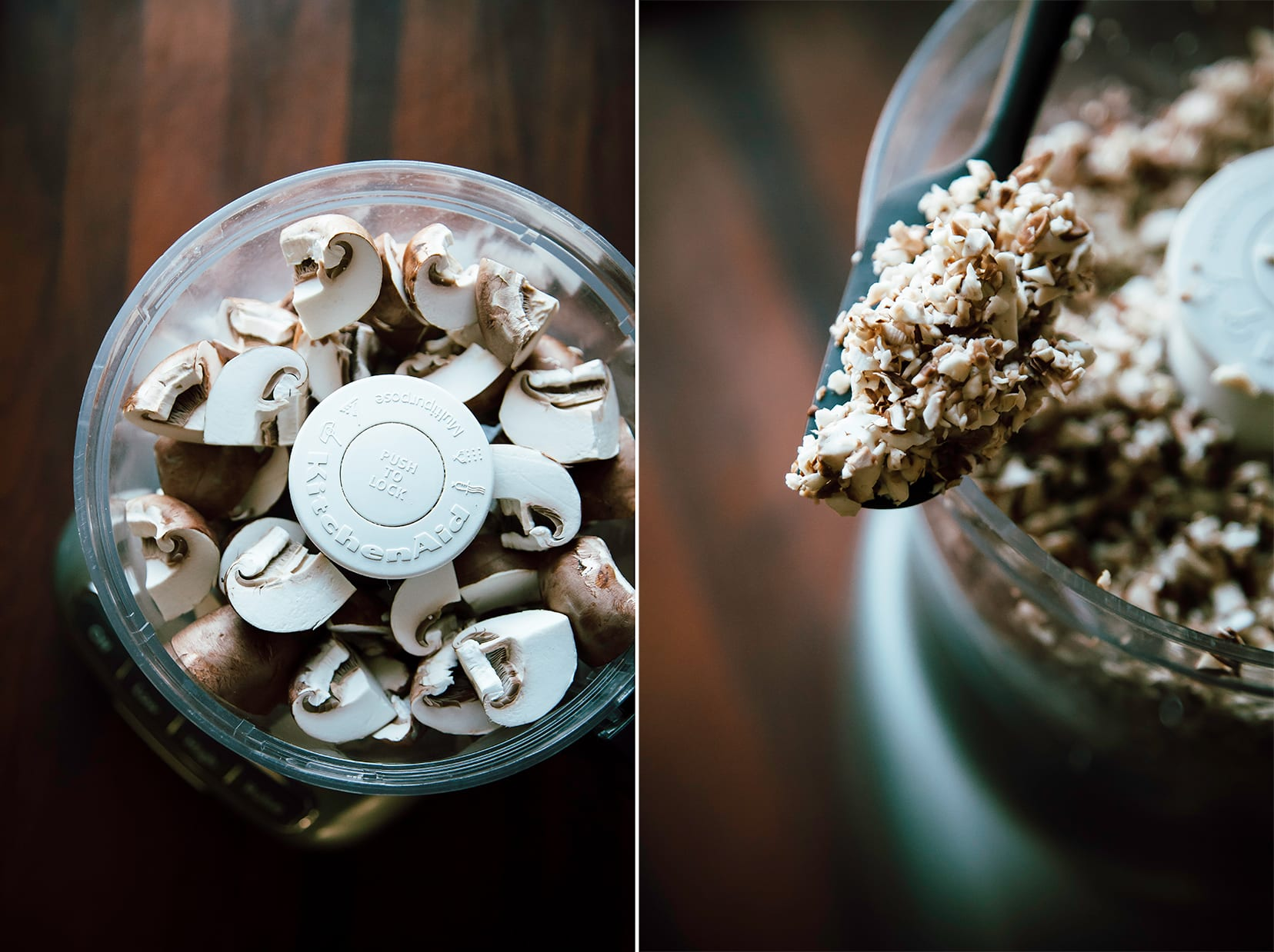 Two photos showing mushrooms in a food processor before finely chopping and after finely chopping.