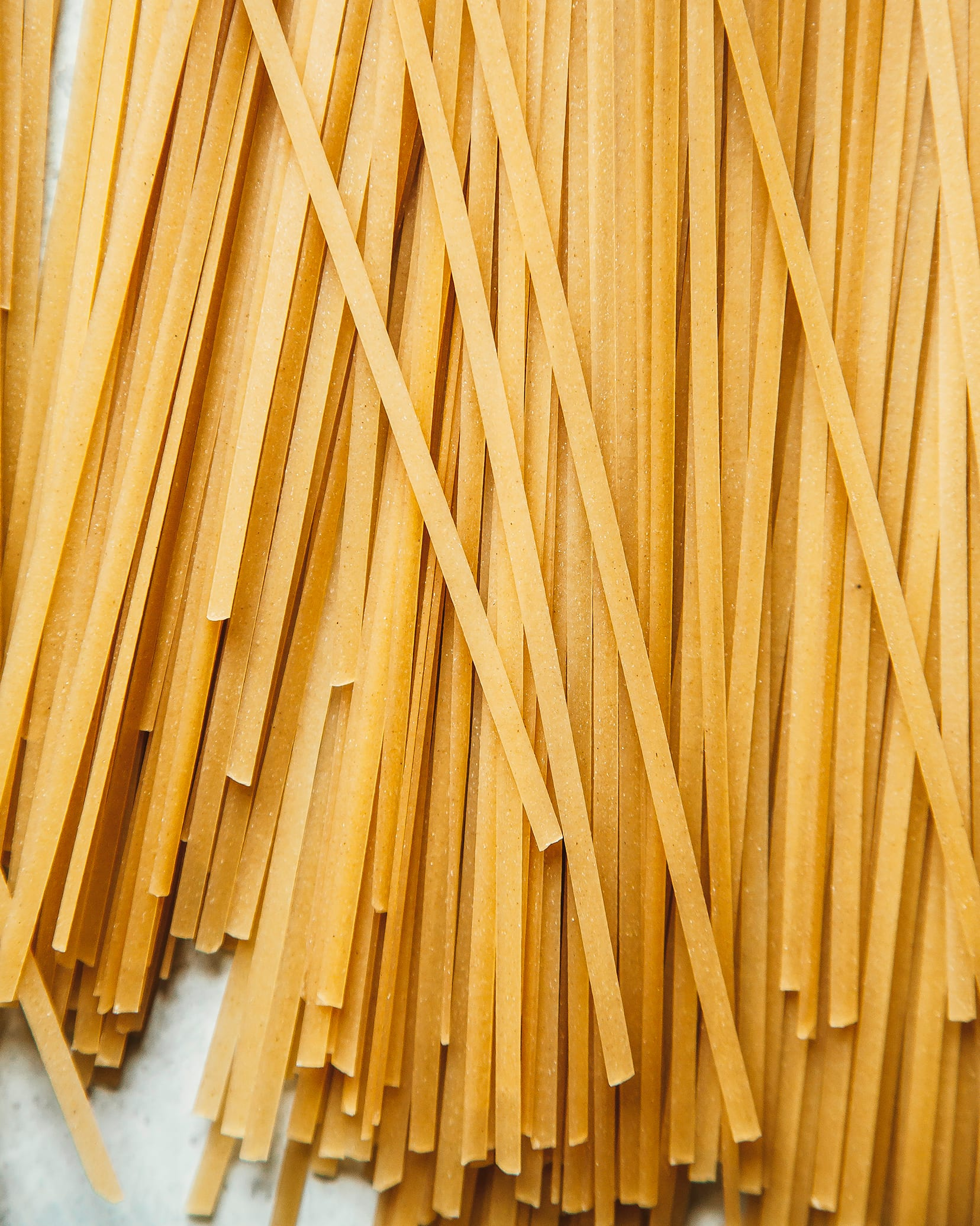 An up close shot of brown rice noodles.