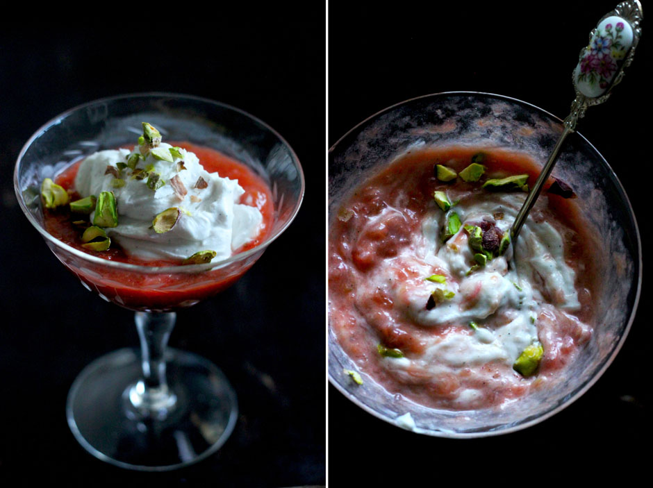vegan rhubarb fool with coconut cream and pistachios - The First Mess