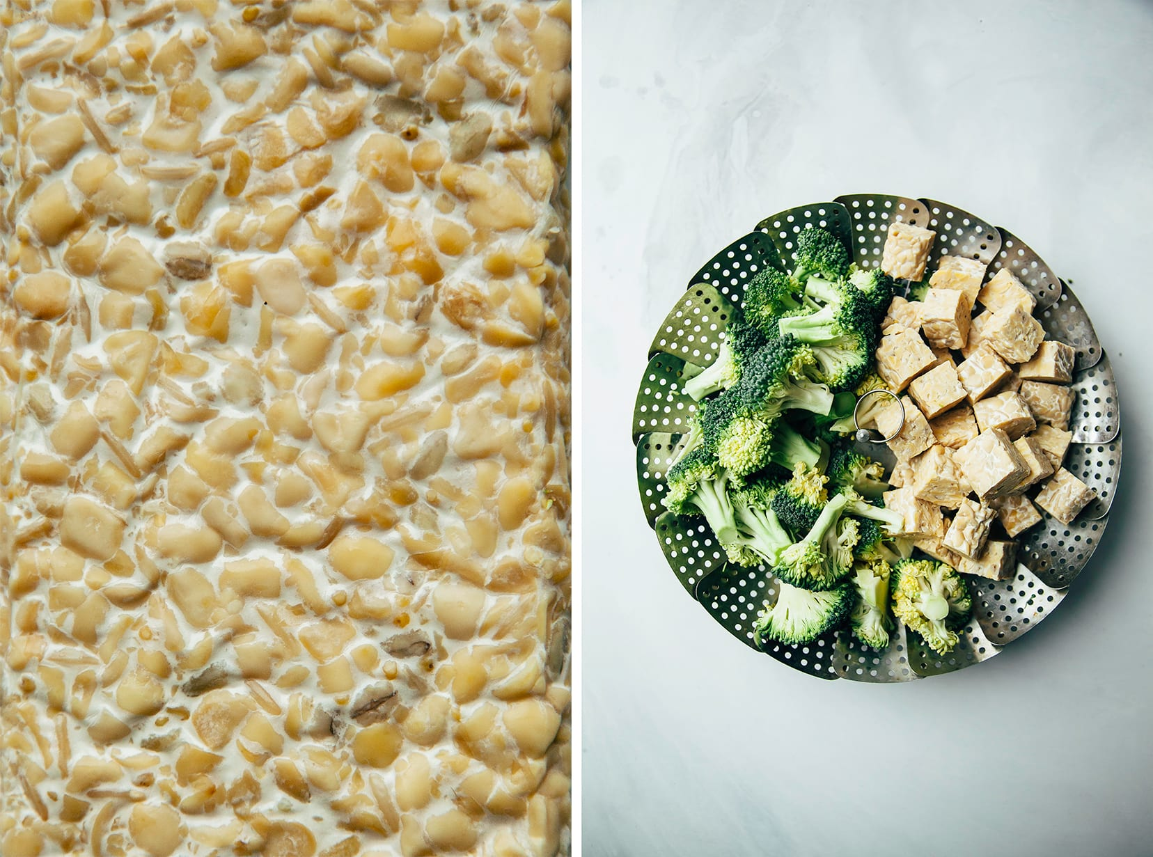 Two photos: An up close shot of a cake of tempeh + an overhead shot of a stainless steel steamer basket with broccoli and cubed tempeh on it.