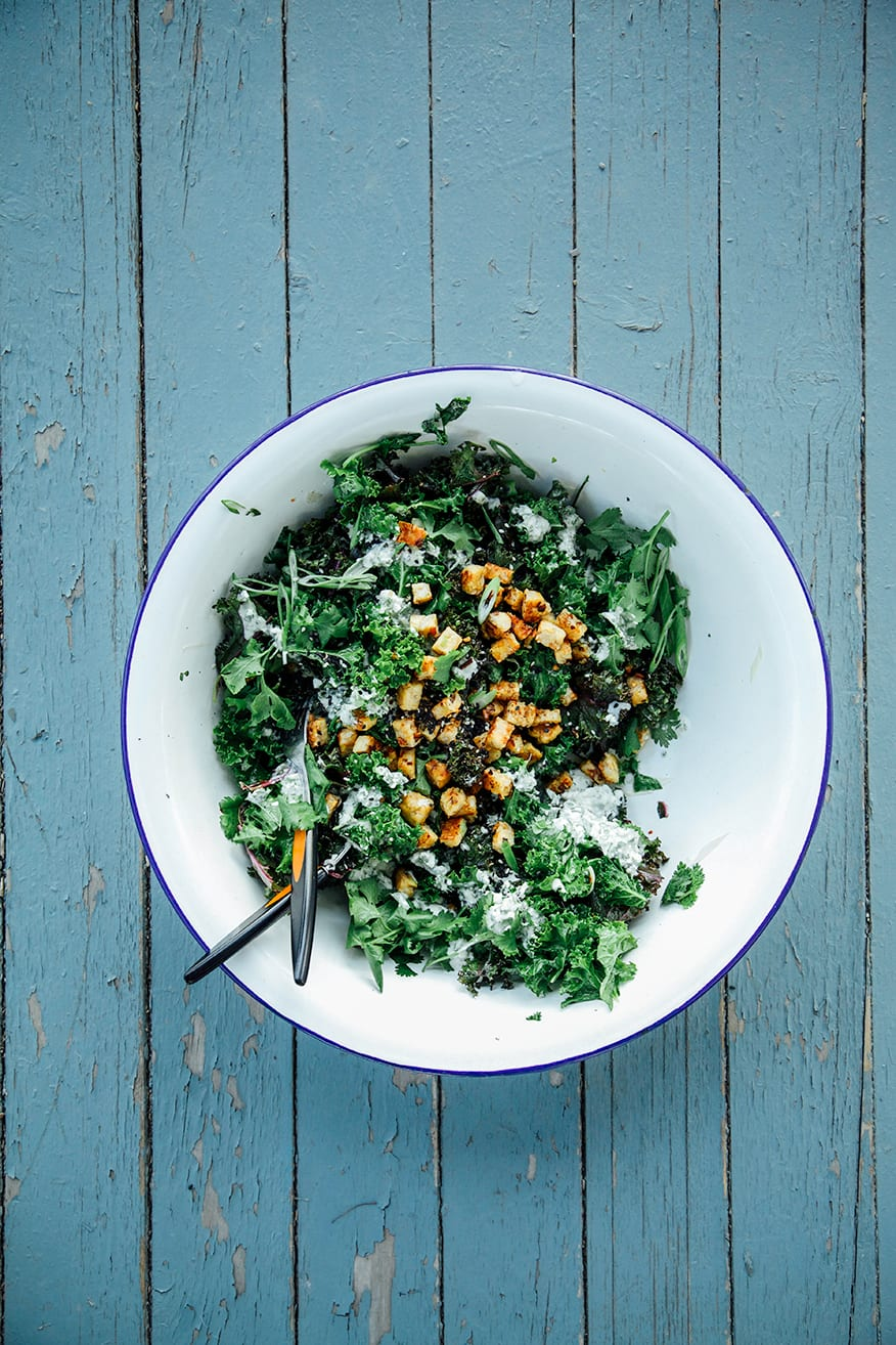 green curry kale + crispy coconut tempeh // the first mess
