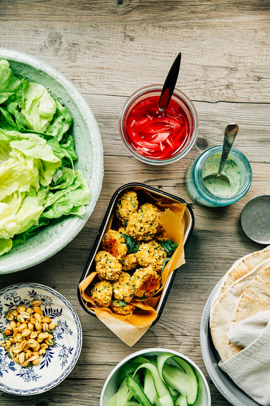 spring onion falafel with millet + some accompaniments // the first mess