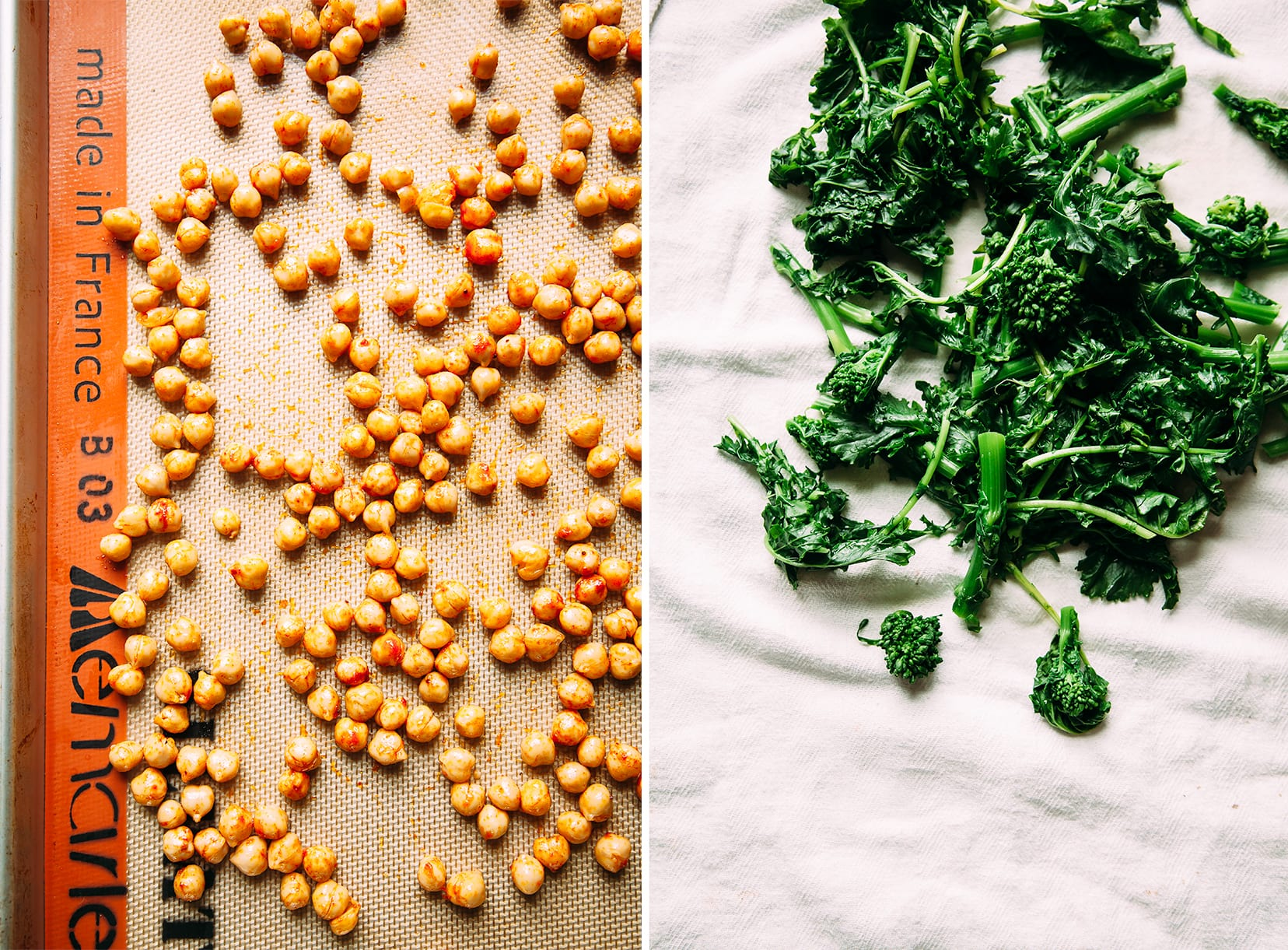 Two images show chickpeas on a baking sheet with spices and blanched broccoli rabe.