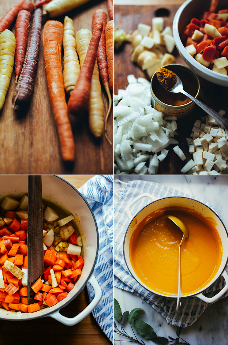 4 photos: one of different heirloom carrots on a cutting board, one with a jar of curry powder surrounded by chopped onions, potatoes and carrots, one showing a white Dutch oven with vegetables sautéing, and the last one is an overhead shot of a white Dutch oven with the puréed soup on top of a blue and white dish towel.