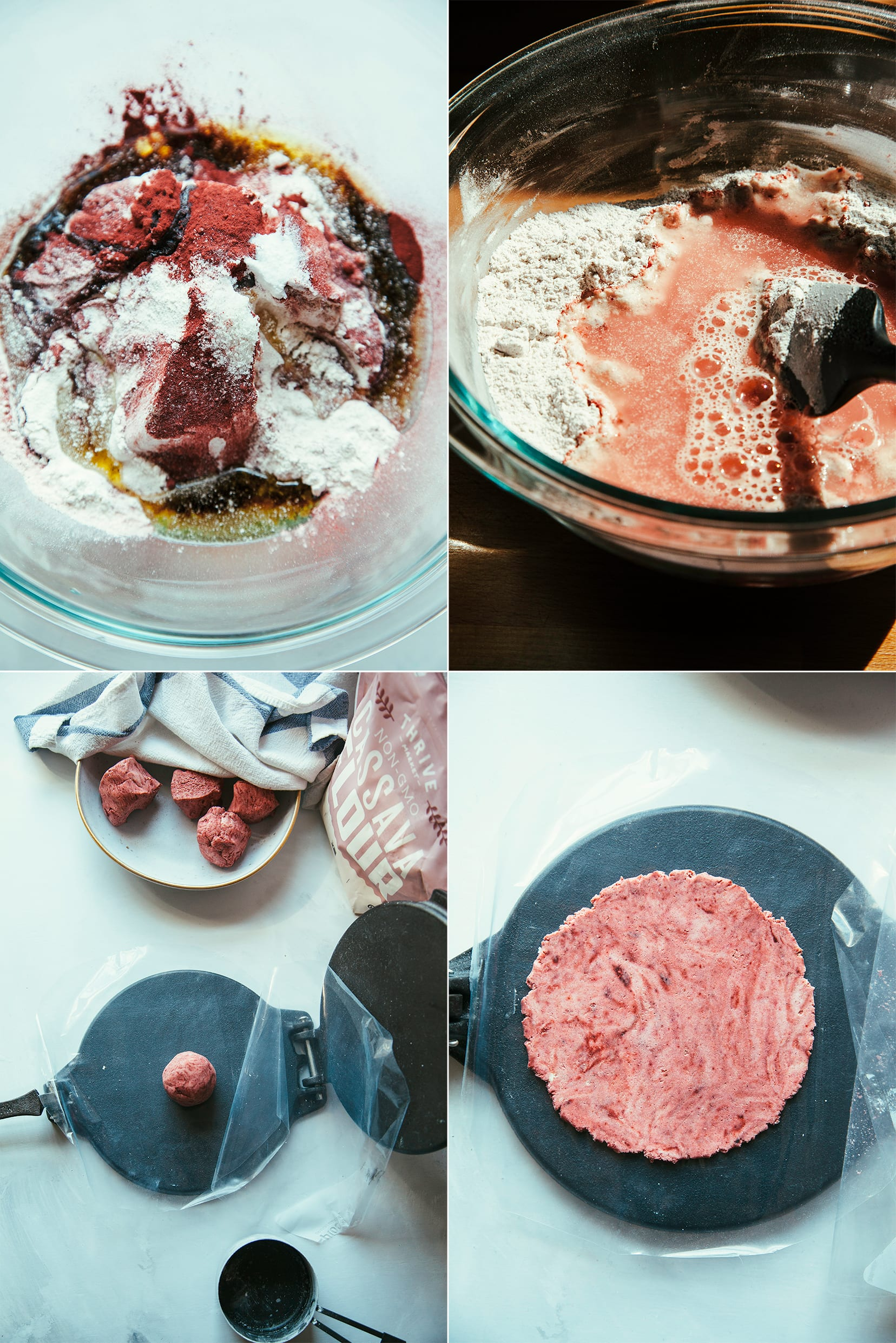 4 images show the making of homemade cassava flour tortillas with a hint of rosy beet powder mixed in.