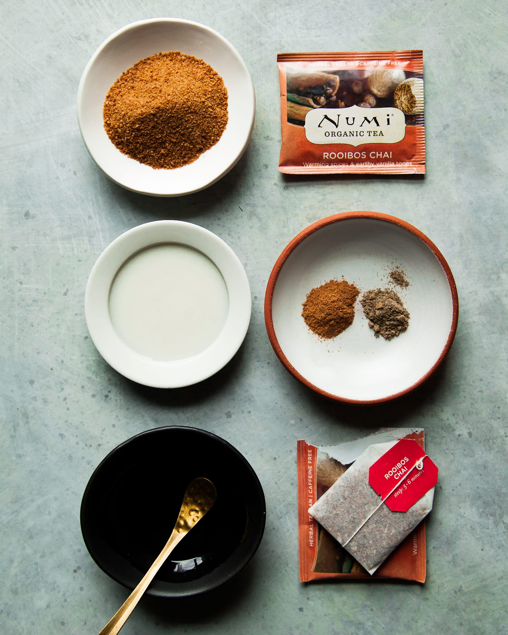Overhead shot of ingredients for a tea latte.
