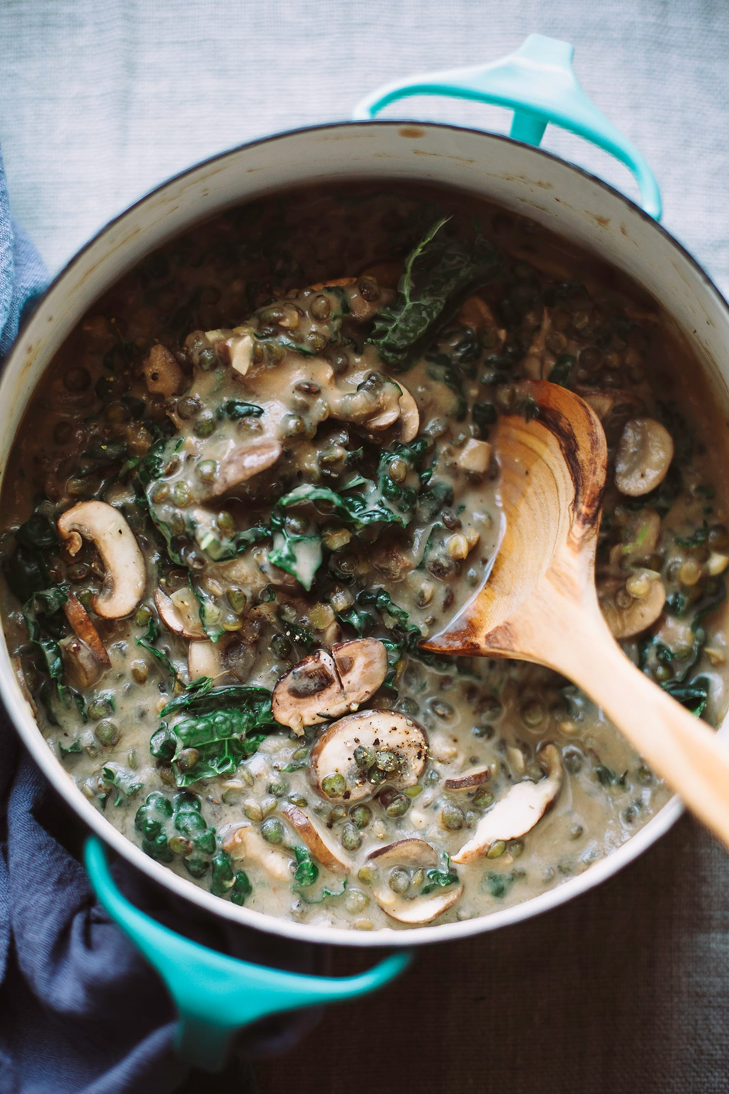 An overhead, up close shot of creamy French lentils with mushrooms and kale. The stew is light beige with green bits (the kale). The stew is photographed in a turquoise enamelware pot with a wooden spoon sticking out. There is a deep blue napkin around the handle of the pot. Part of a round up of vegan soup recipes