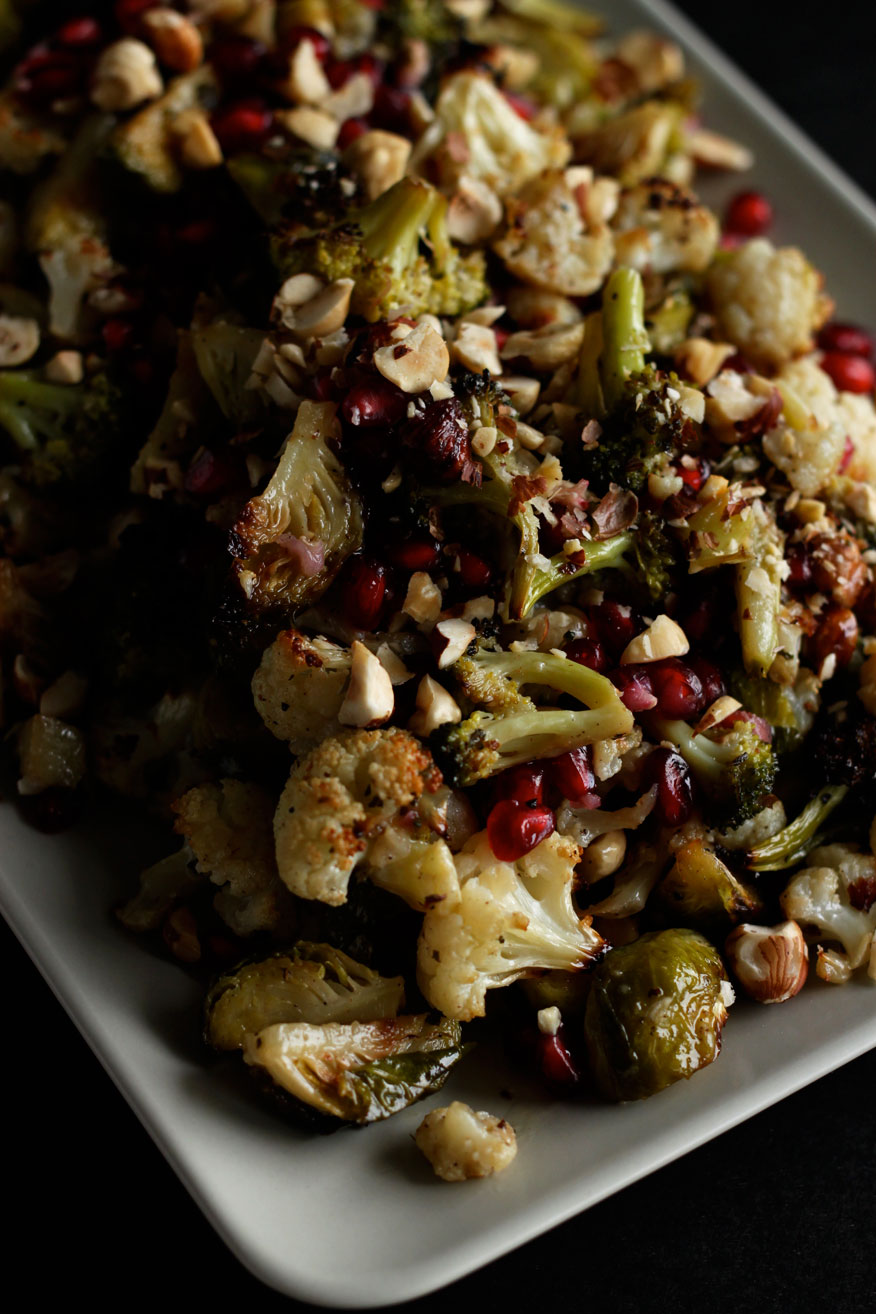 roasted brassicas with maple, dijon, and pomegranate - The First Mess
