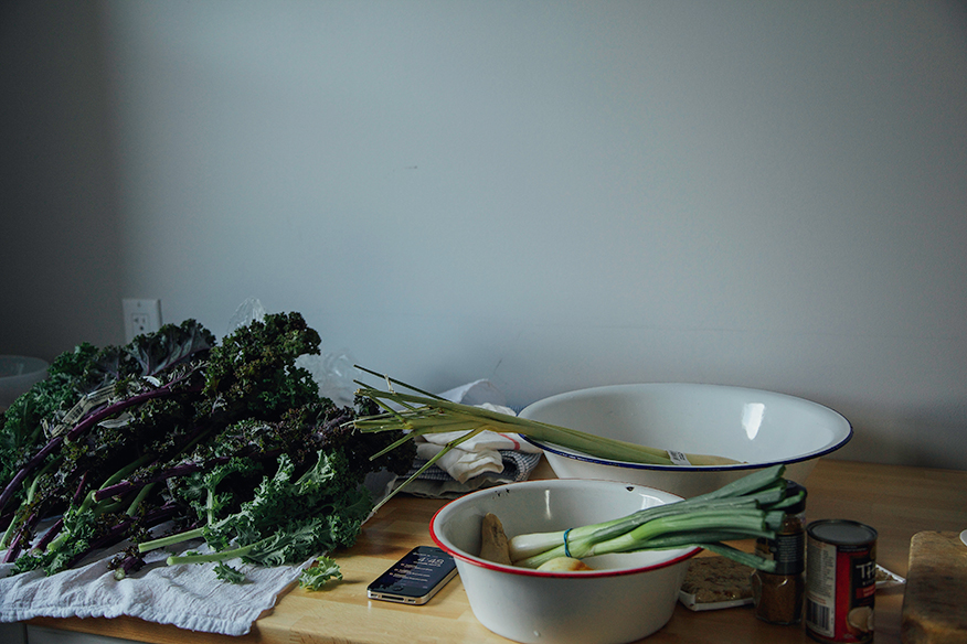 green curry kale prep // the first mess