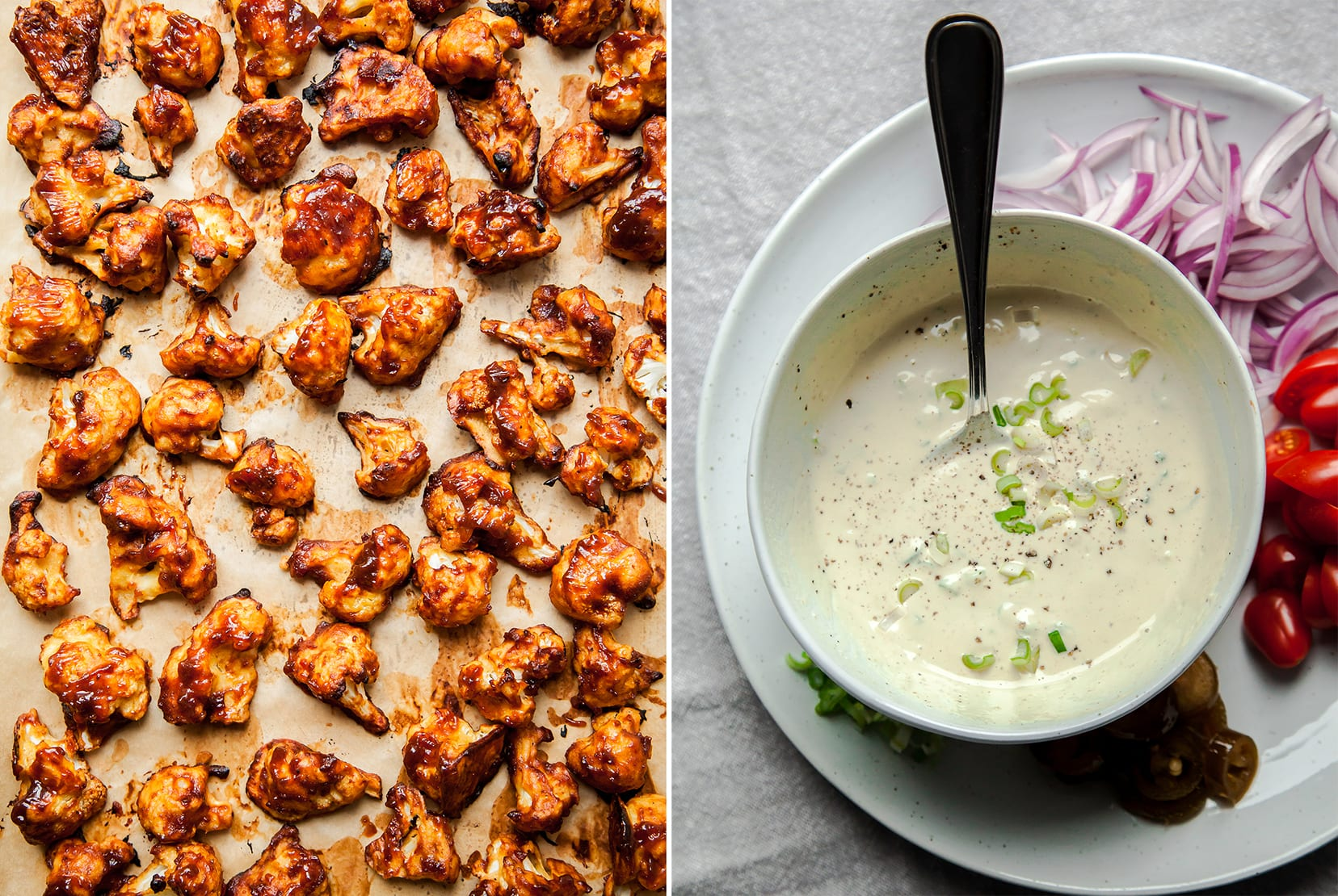 Image shows a tray of BBQ cauliflower and a second image of a bowl of creamy dressing.
