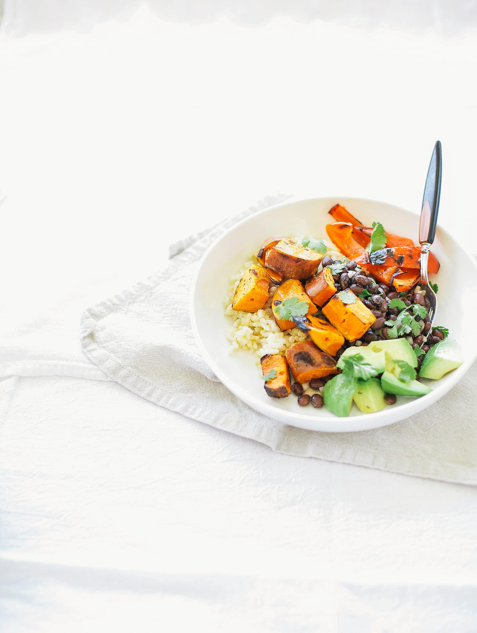 Grilled Sweet Potato Burrito Bowls with Cumin Garlic Drizzle - The First Mess