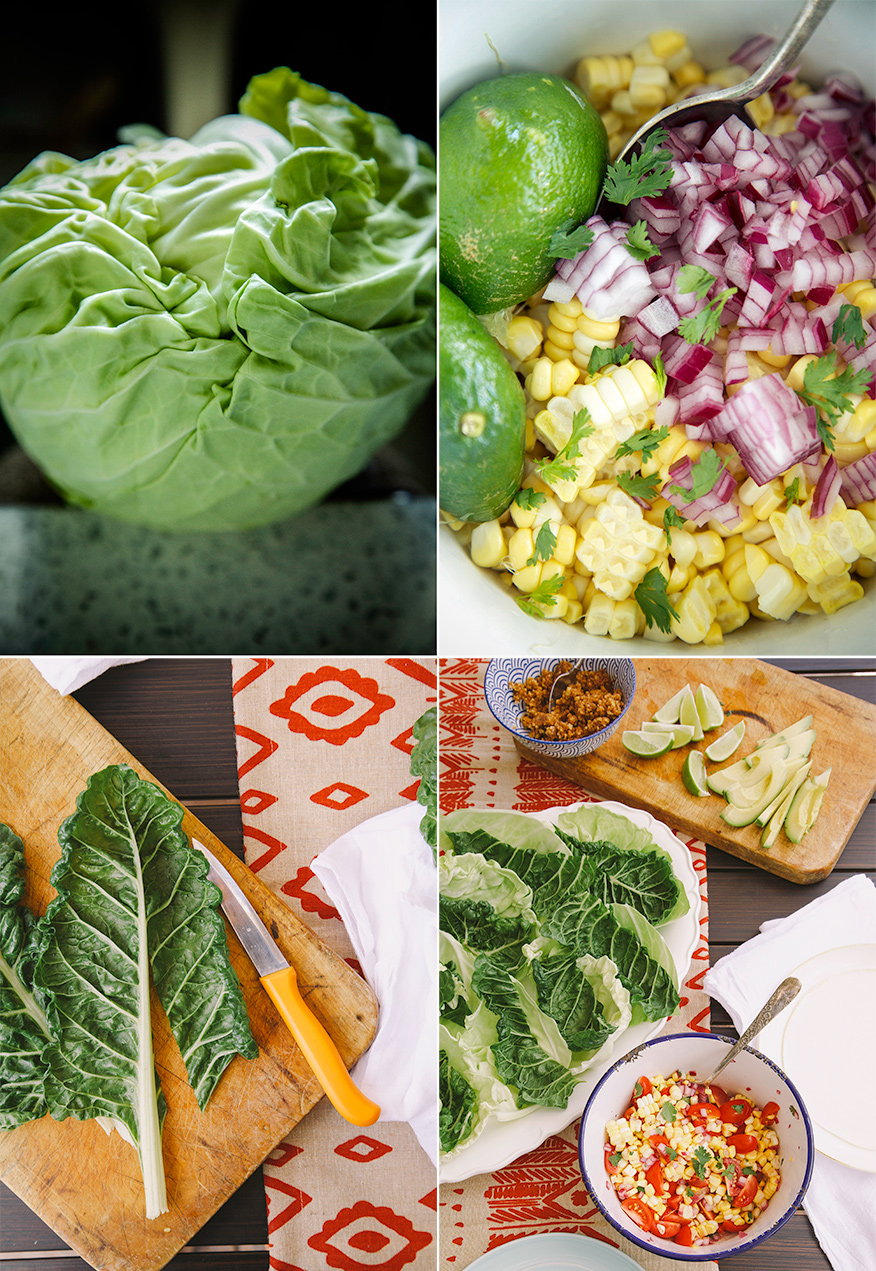 4 photos: an up close shot of a wrinkly head of cabbage, an up close shot of corn salsa before mixing, an overhead shot of chard leaves having their stems removed on top of a wood cutting board, and an overhead shot of the assembly ingredients for raw and vegan tacos.