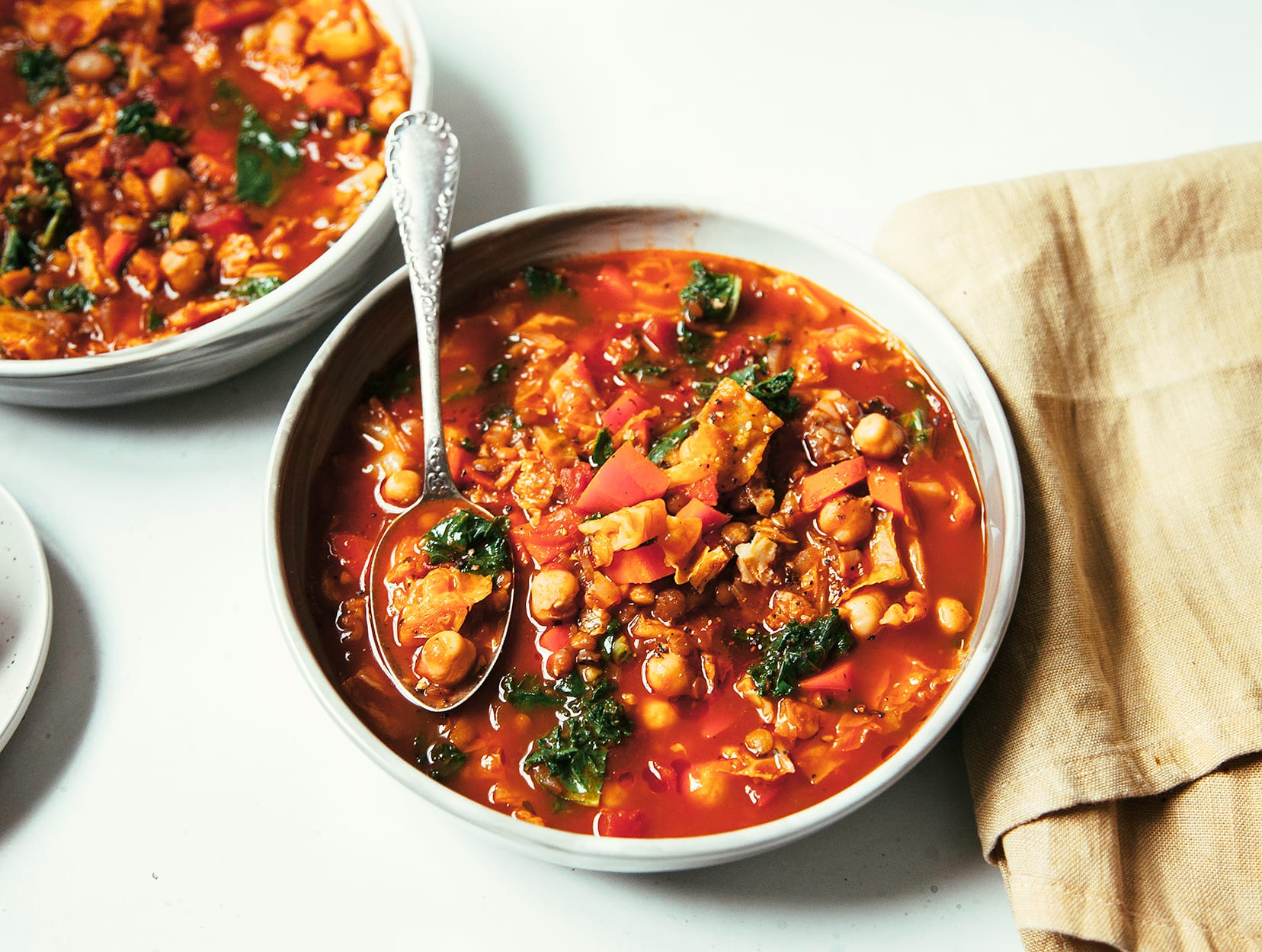 SMOKY CHICKPEA, LENTIL & CABBAGE STEW WITH KALE