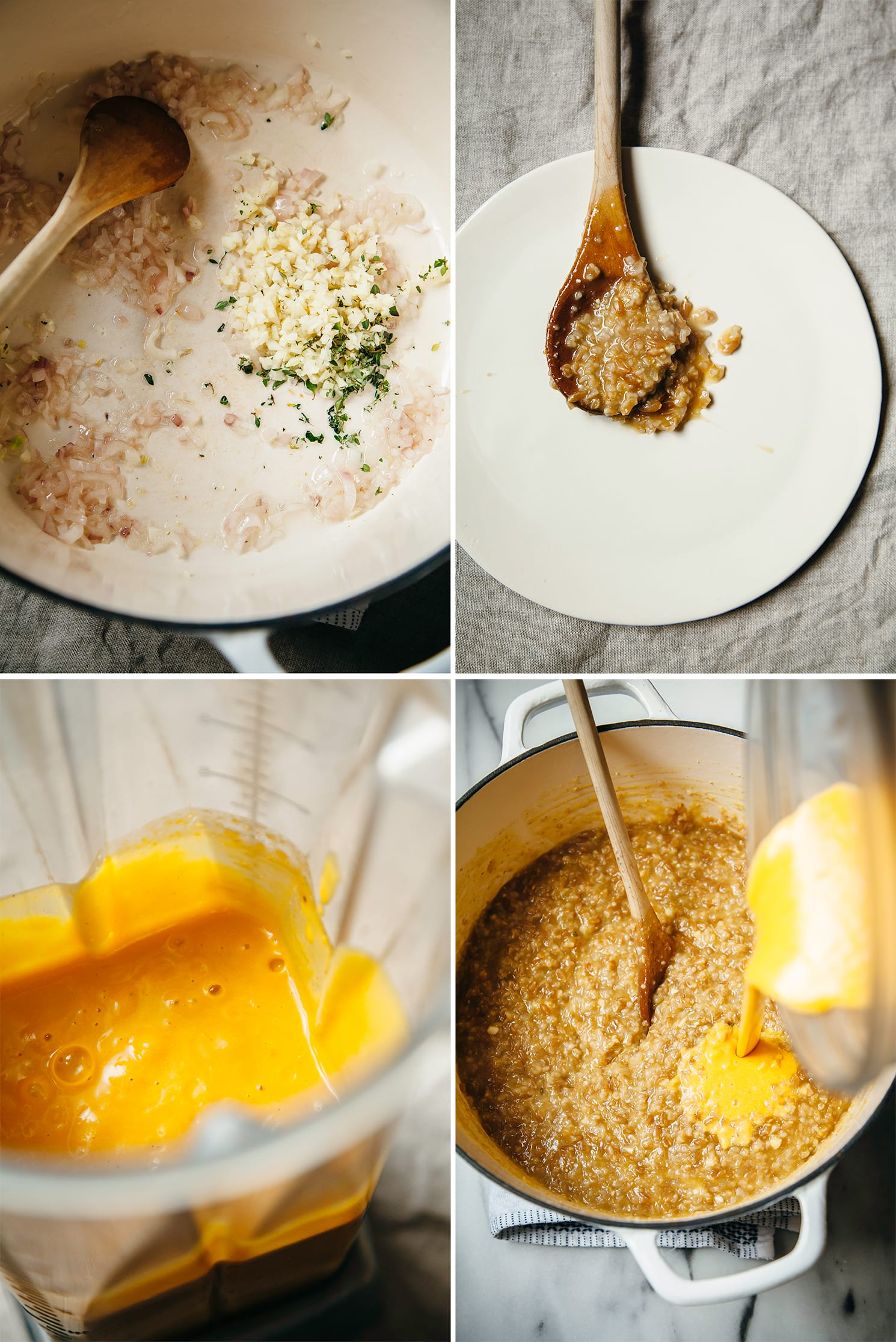 Four images show sautéed shallots in a pot, the consistency of starchy cooked farro on a wooden spoon, a butternut squash purée in a blender pitcher, and the butternut purée being added to cooked farro.