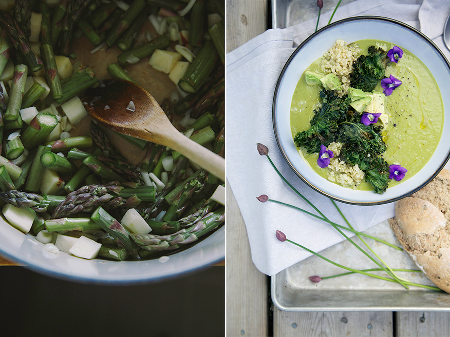 Two images show asparagus being sautéed in a pot and a bowl of mellow green asparagus soup with lots of garnishes.
