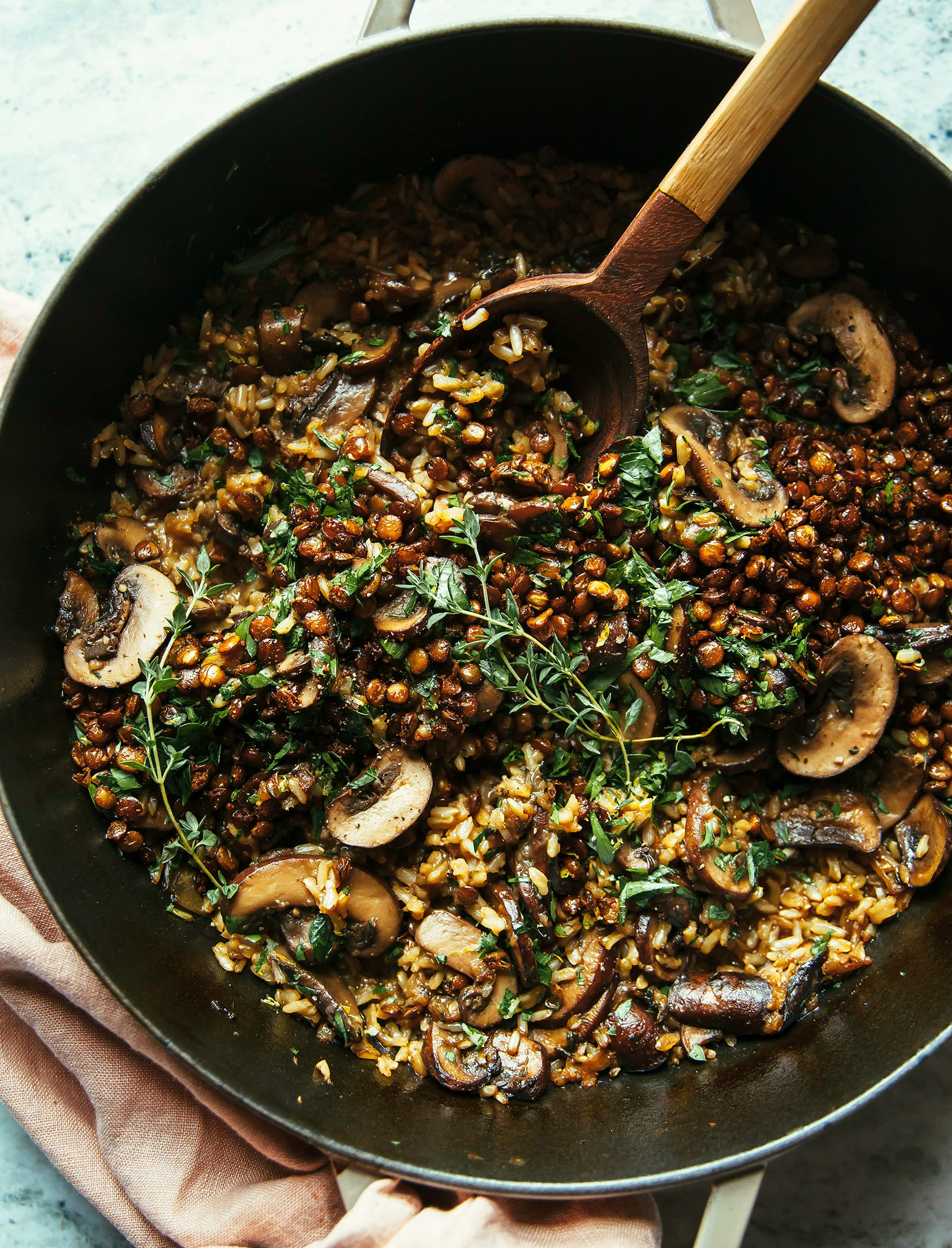 Mushroom Brown Rice Bake with Caramelized Shallots, Crispy Lentils & Gremolata