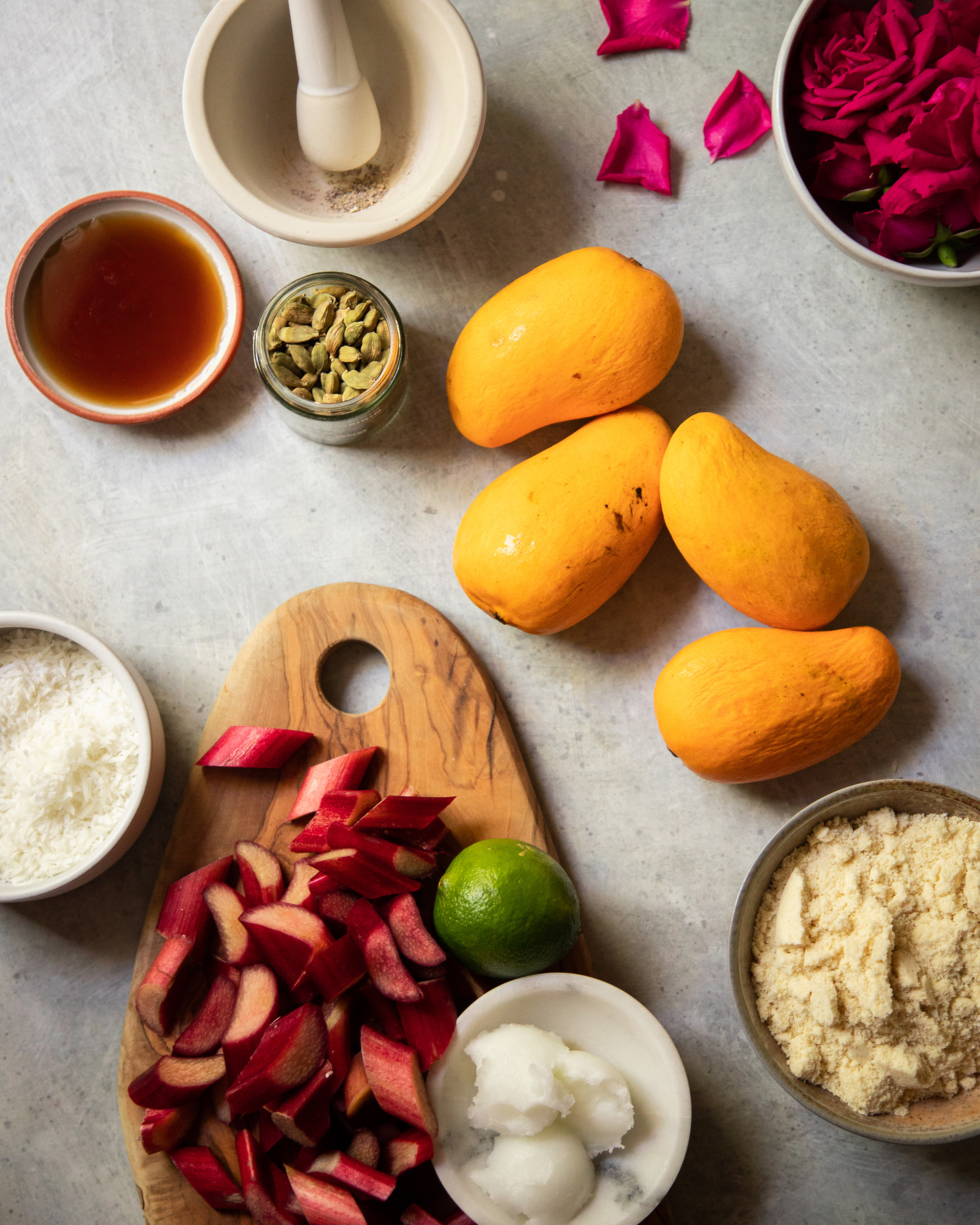 An overhead shot of ingredients for a crumble dessert.