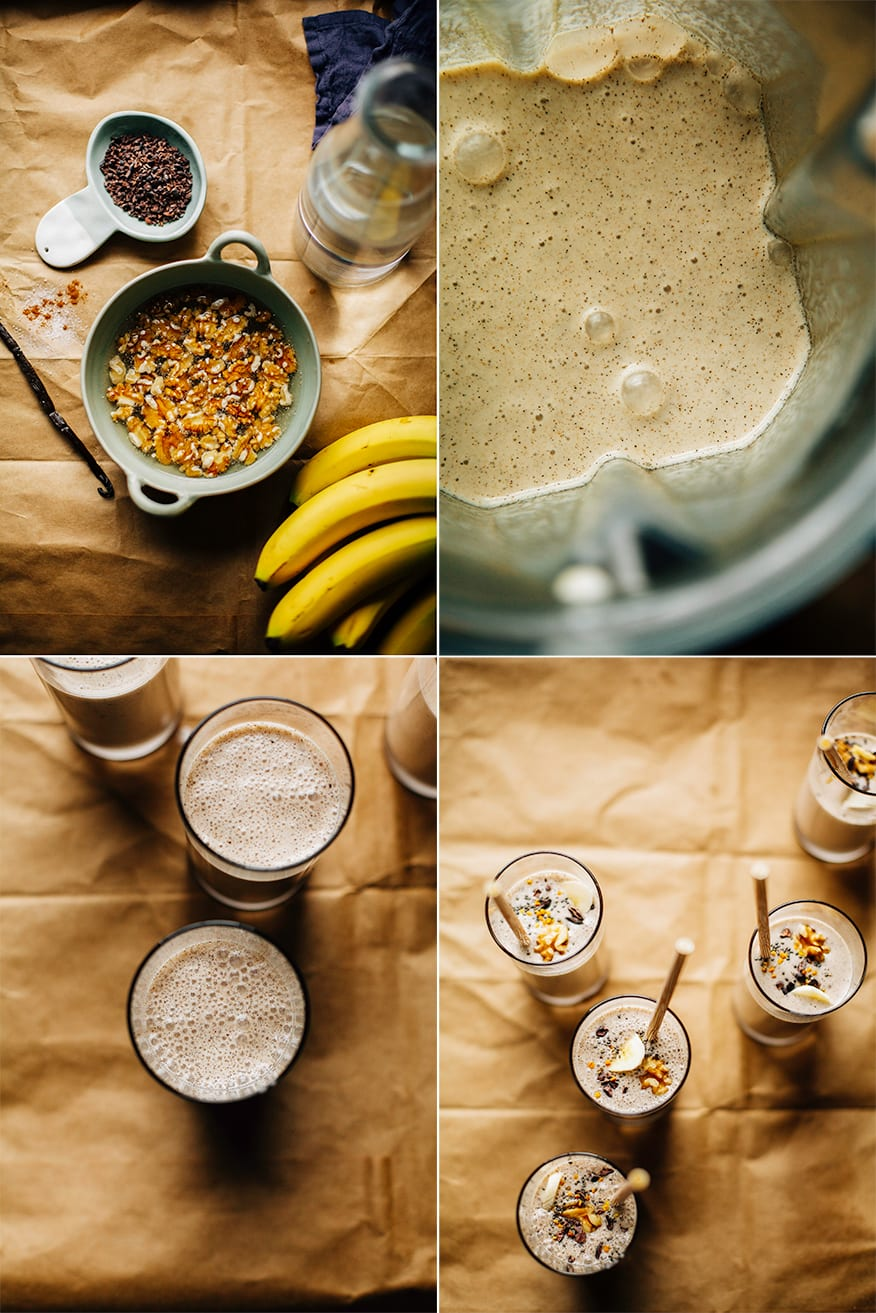 4 photos showing the preparation of banana bread shakes. One with walnuts soaking in a ceramic bowl, One with the blended walnut milk in the blender, and two shots showing the banana bread shakes in slim clear glasses on a brown paper background.