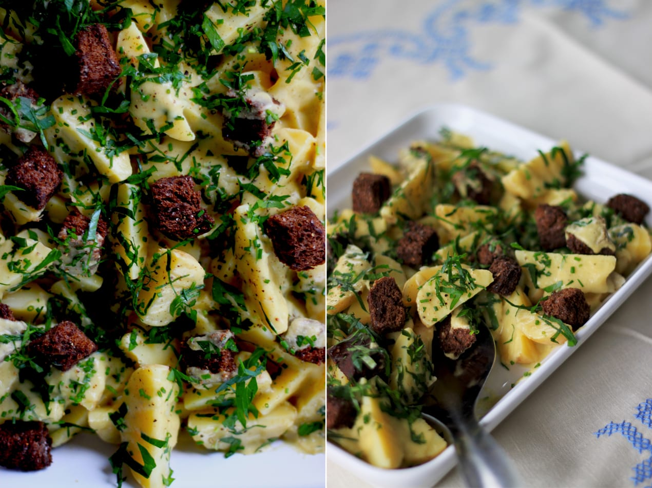 warm potato salad + pumpernickel croutons » The First Mess // healthy ...