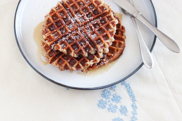banana coconut waffles (vegan and gluten-free) - The First Mess